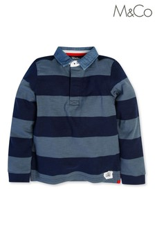 M&Co Blue Long Sleeve Rugby Top