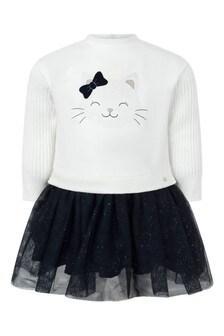 طفل الفتيات الأبيض / البحرية القط القطن اللباس