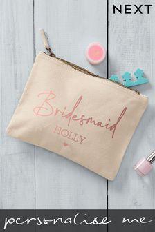 Cream Personalised Bridesmaid Large Cosmetic Bag