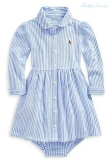 Ralph Lauren Blue Logo Stripe Dress