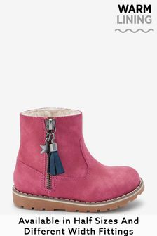 Raspberry Pink Standard Fit (F) Warm Lined Ankle Boots