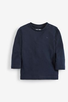 Navy Long Sleeve Plain T-Shirt (3mths-7yrs)