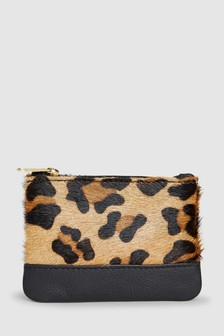 Leopard Print Leather Coin Purse