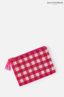 Accessorize Pink Beaded Check Pouch Bag