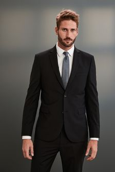 Black Slim Fit Signature Suit: Jacket