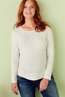 White Maternity Long Sleeve Top
