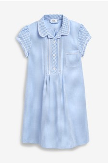 Blue Button Front Lace Gingham Dress (3-16yrs)