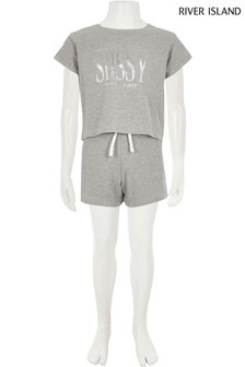 River Island Grey Sassy Crop T-Shirt And Short Set