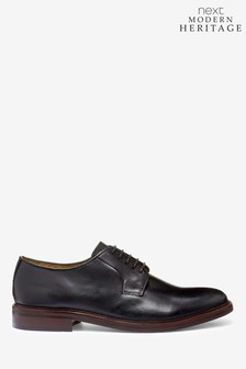 Black Modern Heritage Leather Derby Shoes