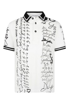 Boys White Cotton Lettering Polo Top