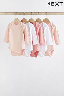Pink/White 5 Pack GOTS Organic Cotton Long Sleeve Bodysuits (0mths-3yrs)