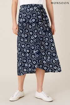 Monsoon Blue Navy Batik Wrap Skirt