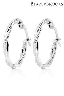 Beaverbrooks 9ct White Gold Twist Hoop Earrings