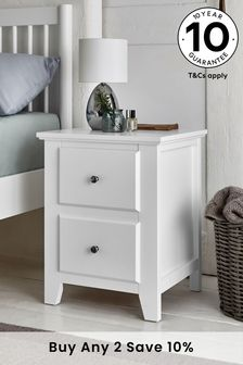 White Ashington 2 Drawer Bedside Table