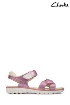 Clarks Light Pink Lea Roam Surf K Sandals