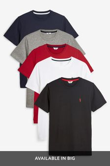 Burgundy Mix Crew Neck Slim Fit Stag T-Shirts Five Pack