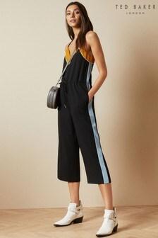 Ted Baker Black Darvva Slip Style Contrast Side Jumpsuit