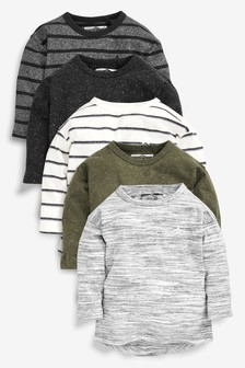 Khaki 5 Pack Long Sleeve T-Shirts (3mths-7yrs)