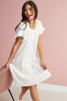 White Square Neck Ruffle Cotton Nightdress