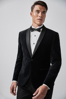 Black Skinny Fit Velvet Shawl Collar Tuxedo Jacket