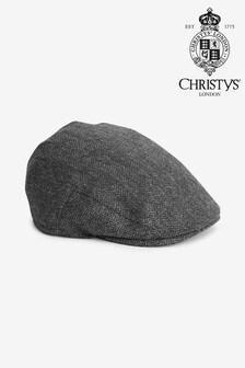Charcoal Herringbone Christys' London Flat Cap