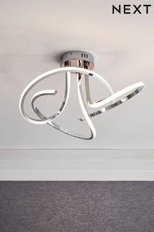 Chrome Smart Home Sculptural LED 3 Light Flush Ceiling Light