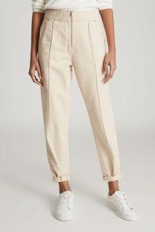 Reiss Cream Zadie Slim Cut Jeans With Exposed Zip Detail
