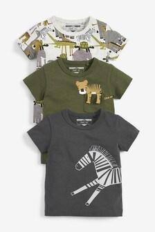Khaki/Grey 3 Pack Safari T-Shirts (3mths-7yrs)