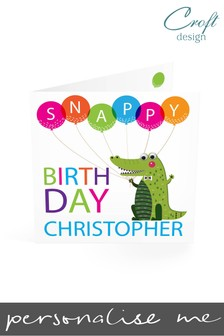 Personalised Snappy Birthday Single Card by Croft Designs