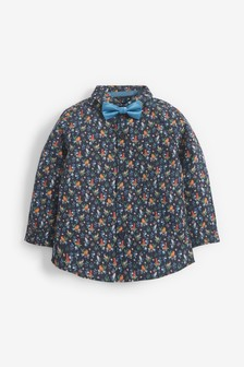 Navy Long Sleeve Floral Print Shirt With Bow Tie (3mths-7yrs)
