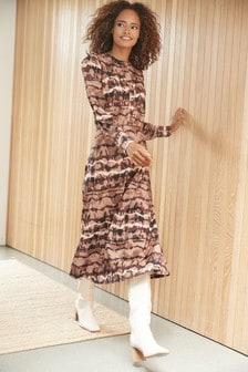 Chocolate Tie Dye Grandad Collar Midi Dress
