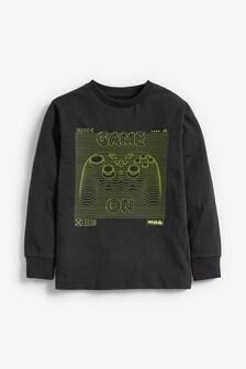 Black Game On Long Sleeve T-Shirt (3-16yrs)