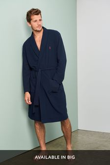 Navy Lightweight Waffle Dressing Gown
