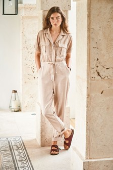 Neutral Linen Blend Jumpsuit