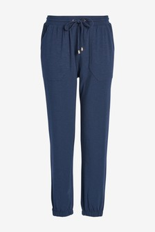 Navy Button Detail Jersey Joggers