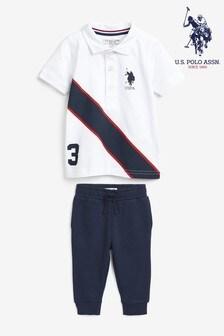 U.S. Polo Assn. White Spliced Player Polo And Jogger Set