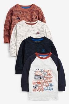 Rust 4 Pack Long Sleeve Cars T-Shirts (3mths-7yrs)