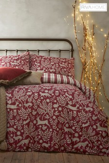 Riva Home Berry Winter Stag Brushed Cotton Flannel Duvet Cover And Pillowcase Set