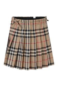Camel Girls Archive Beige Check Skirt