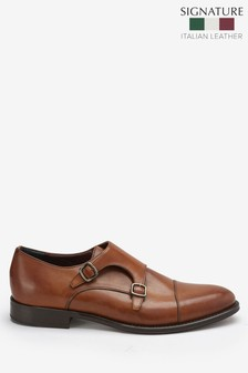 Tan Signature Italian Leather Monk Shoes