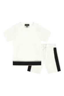 Boys White T-Shirt And Shorts Set