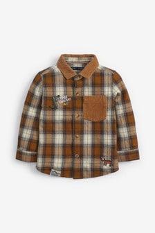 Tan Long Sleeve Check Badge Shirt (3mths-7yrs)