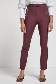Berry Elastic Back Skinny Zip Detail Trousers