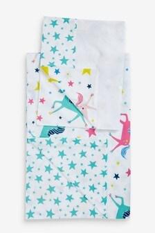 Frugi GOTS Organic Unicorn Print Cot Bed Duvet Set