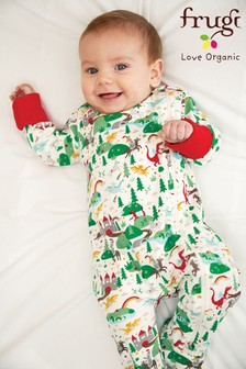 Frugi GOTS Organic Zip Sleepsuit with Turn Back Scratch Mitts - Dragon and Castle