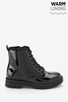 Black/Patent Wide Fit (G) Warm Lined Lace-Up Boots
