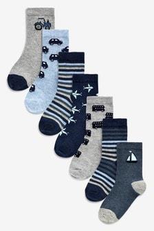 Blue 7 Pack Transport Socks (Younger)