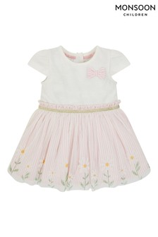 Monsoon Pink Newborn Baby Daisy Disco Dress