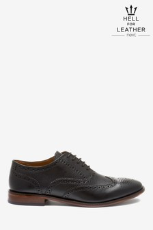 Black Oxford Leather Brogue Shoes