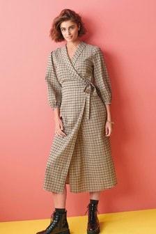 Neutral Check Wrap Dress